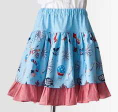 Sasha Skirt Pattern by Butterfly Kisses made with the Parade on Main fabric collection designed by Samantha Walker for Riley Blake Designs #iloverileyblake