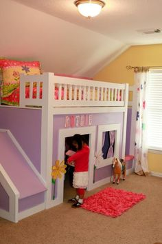 bed, playroom, storage stairs + slide