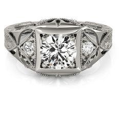 Allurez Vintage Victorian Diamond Engagement Ring Palladium (0.57ct) ($1,505) ❤ liked on Polyvore featuring jewelry, rings, vintage rings, round diamond ring, antique victorian ring, victorian engagement rings and engagement rings