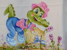 Pintura em Tecido e Artes Decorativas: Jacaré 2