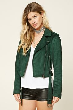 A faux suede moto jacket featuring an asymmetrical zippered front, notched lapels, snap-button epaulets, zippered front slip pockets, long sleeves, and a removable belt at the waist.