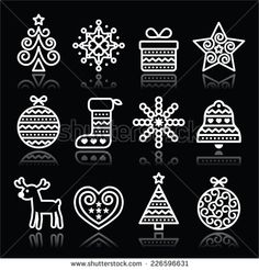 Christmas white icons with stroke on black by RedKoala #xmas