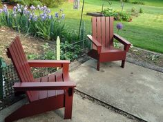 Finally, an Adirondack Chair that is easy to build and stylish and comfortable! This do it yourself project plan to build a DIY adirondack chair is simple, and easy. Inspired by polywood furniture, build your own affordable adirondack chair. Plans Chaise Adirondack, Adirondack Chairs, Adirondack Furniture, Diy Furniture Plans, Garden Furniture, Office Furniture, Farmhouse Furniture, Furniture Design, Funky Furniture