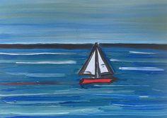 The red boat. Oil on paper  #contemporaryart #sailing #art #modernart #artgallery #sea #boat #wind