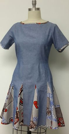 Denim and African Print Summer Dress. Womens by NanayahStudio