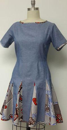 Denim and African Print Summer Dress. Womens by NanayahStudio