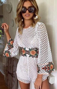#summer #outfits  White Crochet Floral Romper 💕🙌🏼