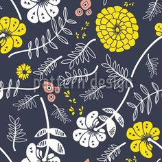 Surface pattern design with fantasyflowers designed by Vikas Kumar, available for download on patterndesigns.com