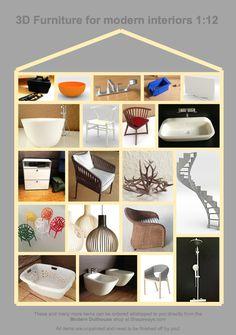 1:12 modern miniature houses: 3D printing of miniatures