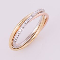 Three Tone Ring, 18K Gold And Diamonds Band, Anniversary Ring, Wedding Ring, Diamond Band, Trinity Ring, Tri Color Ring, Stackable Ring