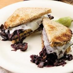 Smothered Tempeh Sandwich - If you're keen to explore vegetarian options, try protein-rich tempeh smothered with red-wine-braised mushrooms and provolone cheese. If you're vegan, substitute your favorite soy cheese. Make it a meal: Enjoy a glass of beer and a spinach salad.