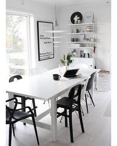 Living Room Kitchen, Living Room Interior, Dining Room, Nordic Home, Scandinavian Home, Black And White Love, Kitchen Design, Interior Decorating, Bedroom