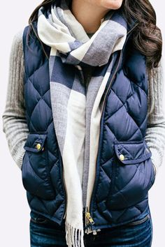 Blue Fashion Sleeveless Chimney Collar Gilet - US$21.95 -YOINS
