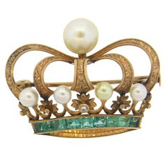 C. 19th Century Antique Pearl Emerald Diamond Gold Crown Brooch Pin | From a unique collection of vintage brooches at https://www.1stdibs.com/jewelry/brooches/brooches/
