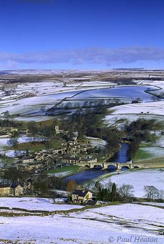 A covering of snow in Burnsall North Yorkshire UK Burnsall is situated on the River Wharfe in Wharfedale and is in the Yorkshire Dales National Park. Photo by Paul Heaton Yorkshire England, Yorkshire Dales, North Yorkshire, England And Scotland, England Uk, English Countryside, British Isles, Britain, Beautiful Places