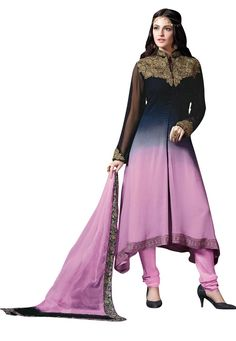 "#Beautiful #Black #And #Pink #Georgette #Chuddidar #Kameez  Black And Pink Georgette kameez designed with Zari,Resham Embroidery with patch patta Work. Available with Pink Santoon Bottom. This Semi Stitch kameez can be customized upto 44"""" inches. INR:-2303.00 only #With #Exciting #Offer Shop Now At http://tinyurl.com/hv7dej2"
