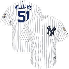 Bernie Williams New York Yankees Majestic Home Cool Base Jersey with Commemorative Patch - White/Navy - $94.04