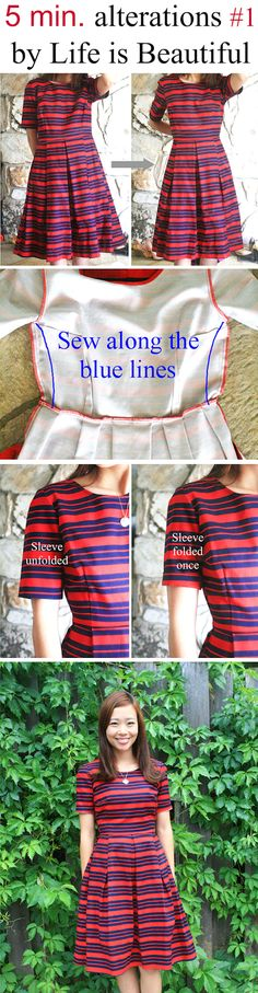5 minute alterations series #1: Alter a larger size dress in less than 5 minutes.