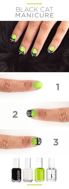 You need this Halloween-themed, black cat manicure right meow! The shock of lime green feels fresh but you could swap for classic orange or even purple. Featured essie nail polish: Licorice black, Marshmallow white, Stencil Me In green, and Good to Go top coat. Get your Halloween haunt on at Kohl's.