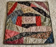 Antique Hand Stitched Calico Crazy Work Dolls Quilt, 15.75 in. x 12.5 in., eBay, bgrboots