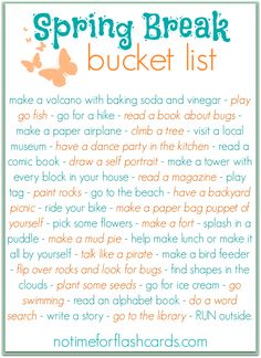 Spring break bucket list for preschool and elementary. Keep your kids busy all spring break with these simple ideas!