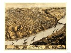 8 x 12 Reproduced Photo of Vintage Old Perspective Birds Eye View Map or Drawing of: Kansas City, Missouri. Ruger, A. Kansas City Map, Kansas City Missouri, Missouri River, Cities, Birds Eye View Map, Alternate History, Vintage Art Prints, Vintage Maps, Old Maps