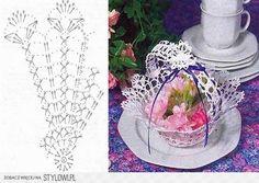 Lace tea-cup by Miss Rose Sister Violet. lace teacup for party decor . Crochet Vase, Diy Crochet Basket, Crochet Basket Pattern, Crochet Motif, Crochet Doilies, Crochet Christmas Decorations, Christmas Crochet Patterns, Crochet Storage, Crochet Angels
