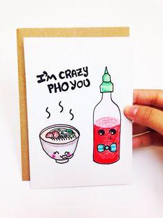 Funny Valentine Card Valentines day Card, valentines card, I'm crazy pho you, sriricha sauce and pho pun card, hand drawn card, etsy handmade, handemade card by LoveNCreativity