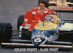 Nelson Piquet giving Alain Prost a lit.