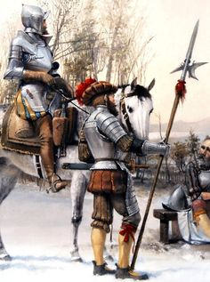 Landesknect and Reiter. This by the appearance of the armour is late in the life of the Landesknechts possibly towards the end of the sixteenth century.