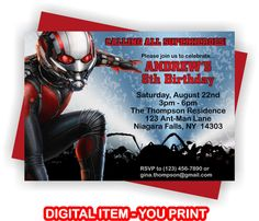 YOU PRINT Ant-Man Birthday Invitation Ant-Man by TAGSRUSCANADA