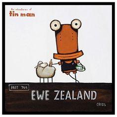 New Zealand Tin Man Ewe Zealand by Tony Cribb Box Framed Print - http://www.silverfernz.com/2926-tin-man-ewe-zealand-by-tony-cribb-box-framed-print.htm