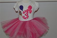third birthday tutu set with balloons on shirt.. www.stylotutuboutique.com  #stylotutuboutique #thirdbirthay #pinktutu   #personalized #littlegirl #thirdbirthday #balloons