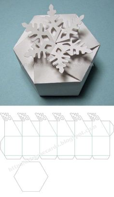 Free cutting file: Snowflake twist top Box - from Carol at Extreme Cards & Papercrafting  (in PDF, DXF, GSD & SVG) #CutFile by uveroalto