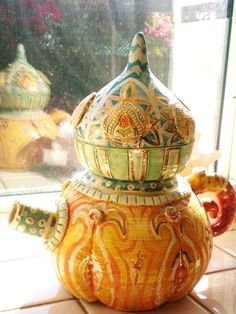 Teapot Handmade Vintage Ceramic Decor by BlancheB on Etsy, $150.00 #jewelryonetsy