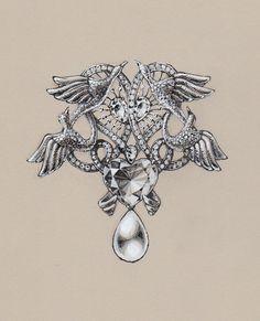 Vintage looking jewelry drawing /Facebook: www.facebook.com/wooakimdesign