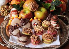 Thanksgiving Themed Holiday Macarons: Caramel Apple Macarons, Chocolate Acorns, and Chocolate Peanut Butter Candy Corn Turkeys: