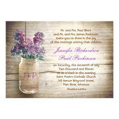 vintage mason jar and blue, purple flowers wedding invitations with rustic wood background