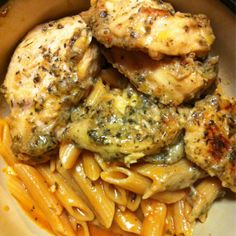 Garlic Pesto Chicken.  This was SO good!  I loved it!  It would have been even better if I had read the recipe beforehand and marinated the chicken overnight.  Either way, it's delicious.  AG