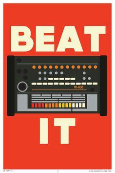 Beat It Giclée Large 27x19 Print Roland TR 808 por sonsofwolves