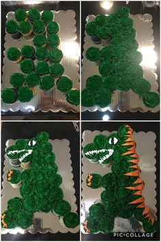 Home made T-Rex dinosaur cupcake cake using grocery store bakery cupcakes plus additional frosting purchased from bakery. Home made T-Rex dinosaur cupcake cake using grocery store bakery cupcakes plus additional frosting purchased from bakery. Dinosaur Cupcake Cake, Dinosaur Birthday Cakes, Dinosaur Party, Birthday Cupcakes, Cupcake Cakes, Dinosaur Cakes For Boys, Dino Cake, Elmo Party, Mickey Party