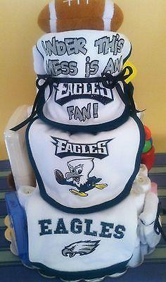 "BABY DIAPER PAMPER CAKE ""EAGLES FOOTBALL TEAM"" SHOWER GIFT / CENTERPIECE"