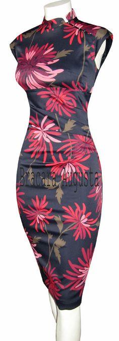 KAREN MILLEN RARE ORIENTAL CORSET BLACK & RED PINK CHRISAMTHEMUM PRINT DRESS 10