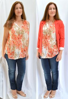 Bobeau Angelea Split Neck Blouse $37 (Returned) - Stitch Fix 13 - July 2016, Kensie Rebekah Stretch Blazer $88 - Stitch Fix 4 - September 2015, Jeans are 7 for All Mankind from Nordstrom Rack