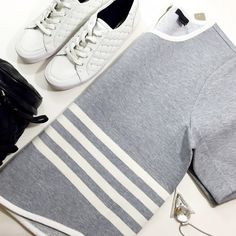 "Gray Striped Scuba Top Details: • Size XL • Short sleeves • Back zipper  • Bust: 23"" across when laid flat • Length: 24"" • Fabric content: 48% cotton, 48% viscose, 4% elastane • NWT  08031520 J. Crew Tops Sweatshirts & Hoodies"