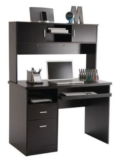 Black Computer Desk With Hutch