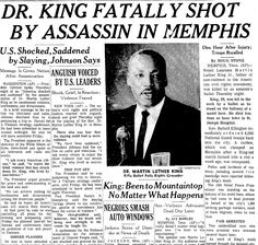 """A newspaper article about the assassination of Dr. Martin Luther King Jr., published in the Times-Picayune (New Orleans, Louisiana), 5 April 1968. Read more on the GenealogyBank blog: """"Dr. Martin Luther King Jr.: Brief Genealogy & Family Tree Download."""""""