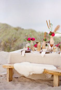 beach party dining pink nude gold