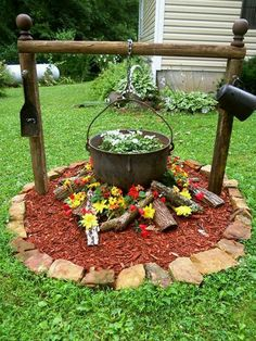 Floral Firepit---I really think that this idea is too cute...:)