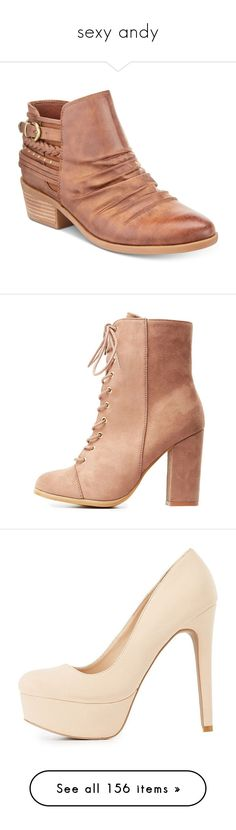 """""""sexy andy"""" by geekgirl199 ❤ liked on Polyvore featuring shoes, boots, ankle booties, whiskey, ruched boots, rugged boots, studded boots, studded ankle booties, rocker boots and обувь"""